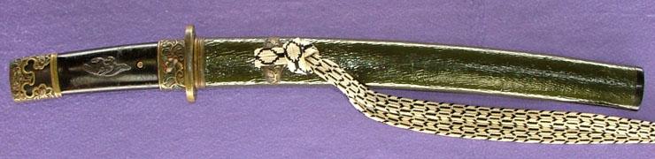 皺革包青漆塗鞘小さ刀拵刃