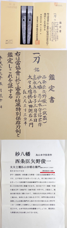 西条臣矢野俊一(武蔵)鑑定書画像