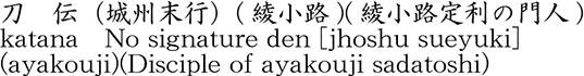 刀 伝(城州末行)(綾小路)(綾小路定利の門人)商品名