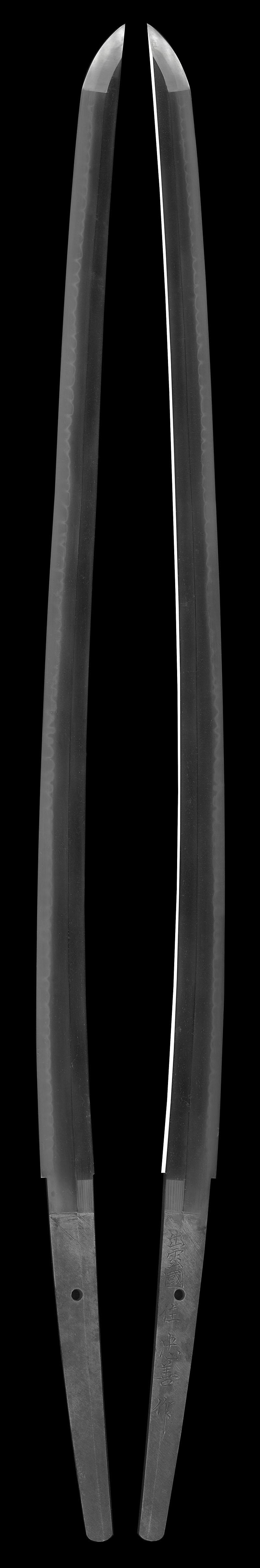 刀 出雲国住忠善作(初代)(無鑑査刀匠)(島根県無形文化財)(軍刀拵入り)全体画像