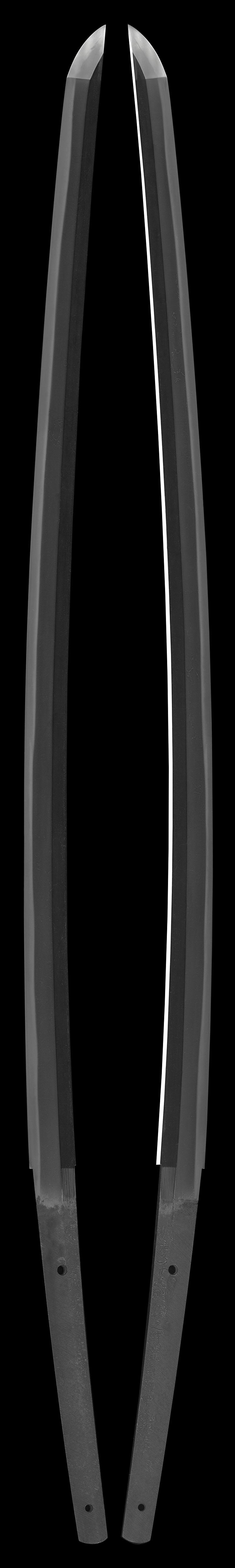 刀 城慶子正明鍛之試鹿角及甲礼與棒 (新々刀上作)  慶応二二戌辰年夏五月 全体画像