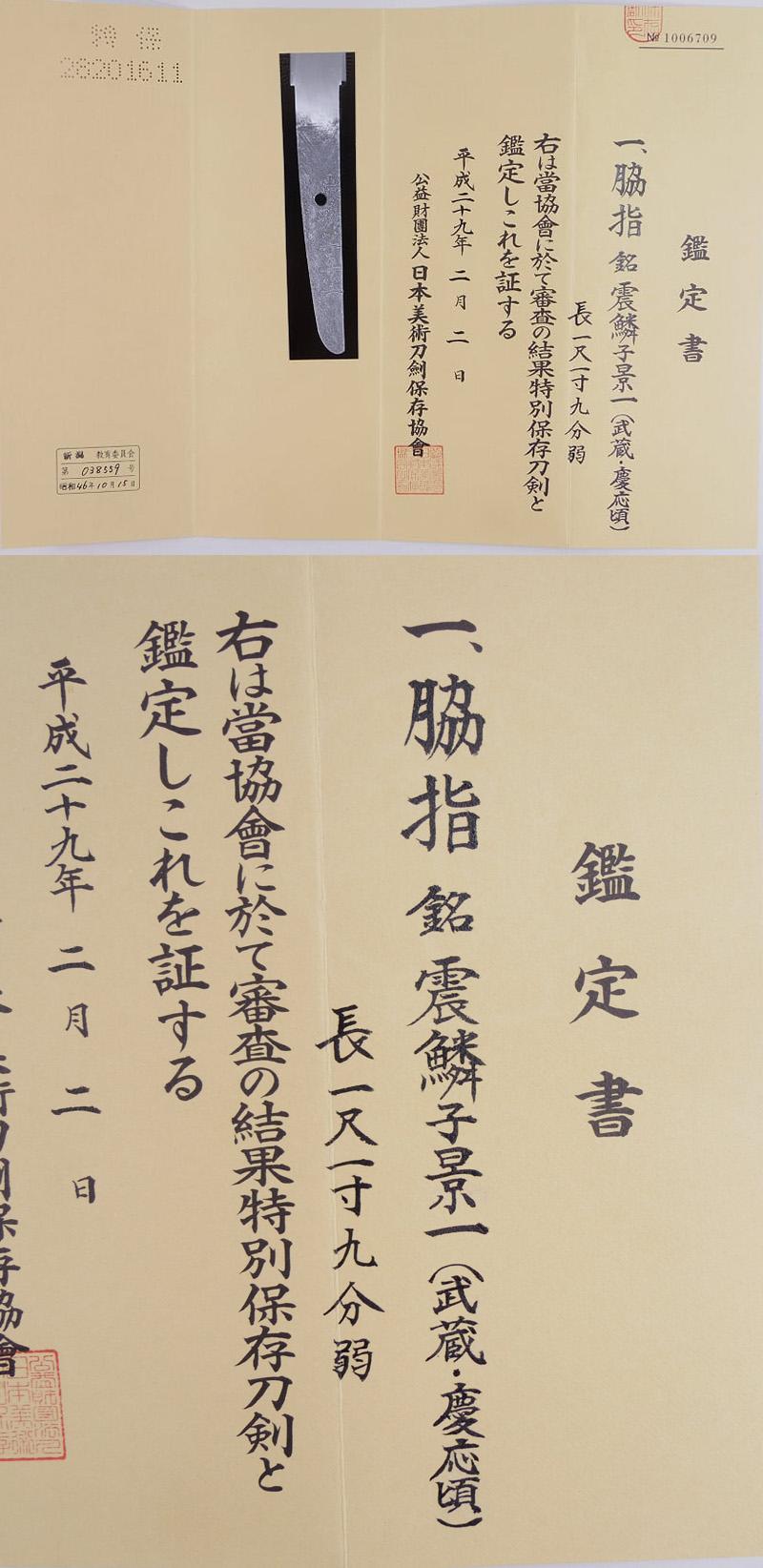 脇差 震鱗子景一(武蔵・慶応頃)鑑定書画像