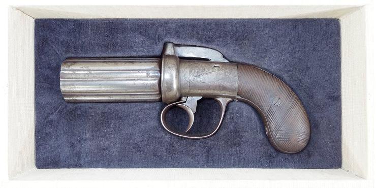 ジャクソン ペッパーボックス バーハンマー 6連発管打銃  (バーミンガムのプルーフマーク)写真
